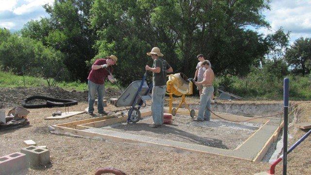 Pouring Concrete grade beam
