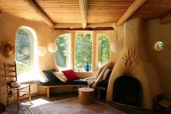 cob house fireplace interior